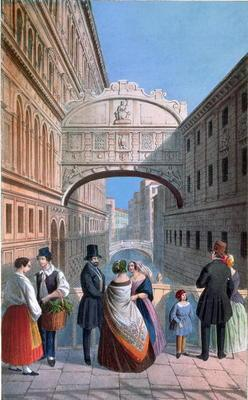 The Bridge of Sighs, Venice, engraved by Brizeghel (litho)