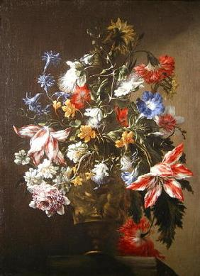 A Still Life of Flowers in a Vase (oil on canvas)