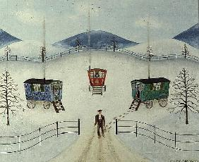 Gypsy Caravans in the Snow, 1981 (oil on board)