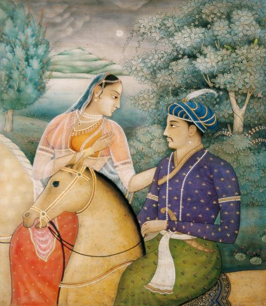 A Couple on Horseback Beside a Moonlit Lake (tempera on panel)