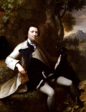 Francis Popham (d.1780) seated in a Wooded Landscape with his Greyhound