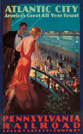 Poster advertising travel to Atlantic City by Pennsylvania Railroad