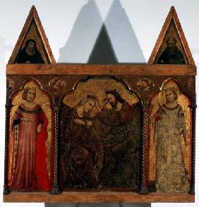 Triptych: Coronation of the Virgin flanked by two saints