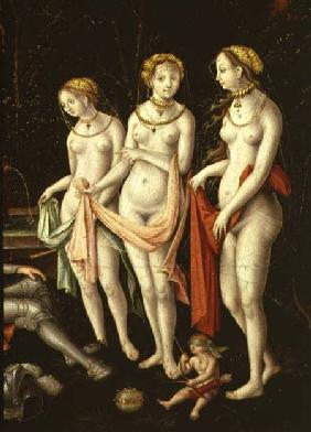 The Destruction of Troy and the Judgement of Paris, detail depicting Artemis, Hera and Aphrodite