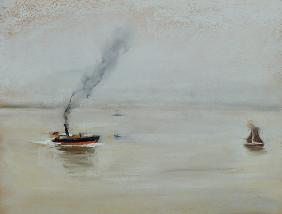 Rainy Weather on the Elbe, 1902 (pastel on paper) (see also 144743)