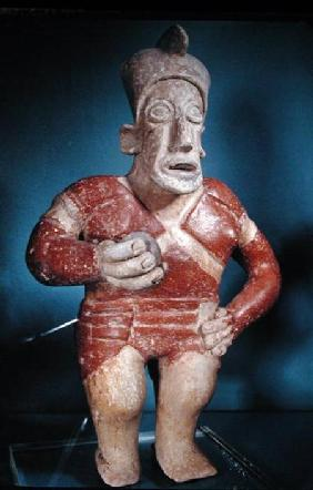 Figurine of a tlachtli player wearing a helmet, from Jalisco, Classic Period