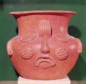 Globular vase with a face, from Kalminaljuy, Guatemala, Pre-Classic Period