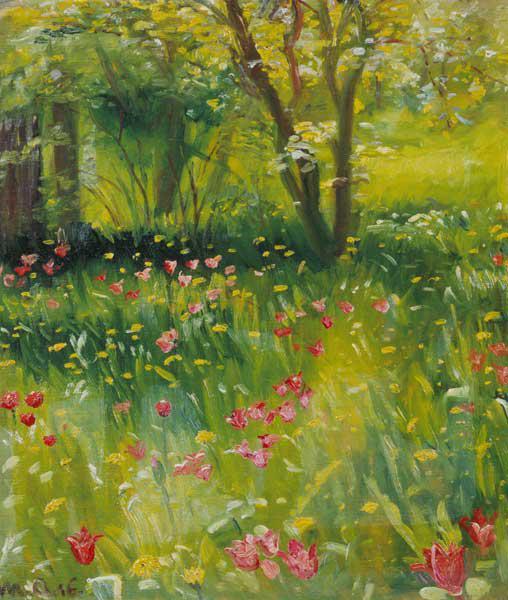La maison rouge dans le parc huile sur toile de august macke for Le jardin voyageur peter brown