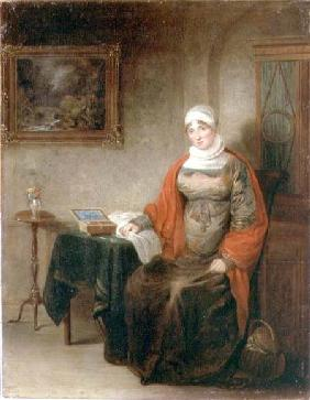 Portrait of Mrs John Crome Seated at a Table by an Open Workbox