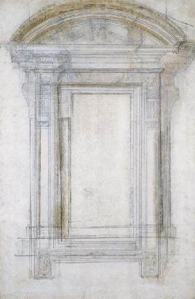 Study of a Window with a semi-circular gable, c.1546 (black chalk & wash on paper)