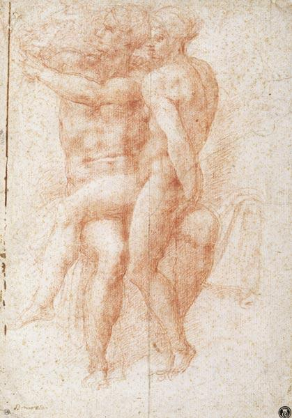 Nude female seated on the knees of a seated male nude: Adam and Eve