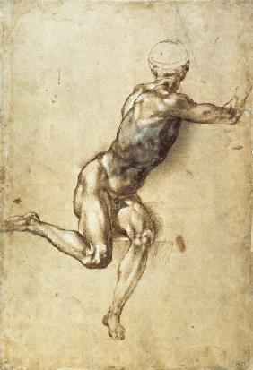 Figure Study for Battle of Cascina, 1504 (pen, brush, brown and grey