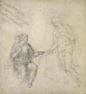 Study of the Annunciation, c.1560 (black chalk on paper)