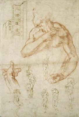 Study of the Assisting Figure of the Libyan Sibyl, c.1512 (red chalk & pen on paper)