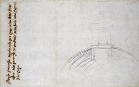 Study of the Lantern for St. Peter's, 1557 (black chalk, pen & ink on paper)