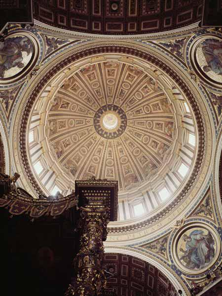 View of the interior of the dome, begun Michelangelo in 1546 and completedDomenico Fontana (1543-160