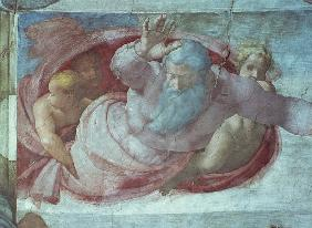 Sistine Chapel: God Dividing the Waters and Earth (pre restoration) (detail)