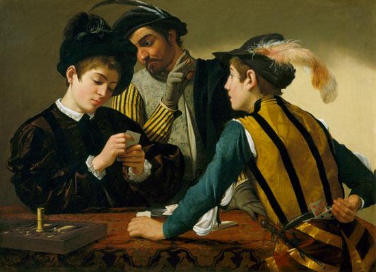 Les tricheurs - huile sur toile de Michelangelo Caravaggio en reproduction  imprimée ou copie peinte à l'huile sur toile