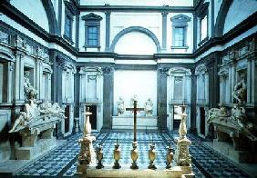 View of the interior designed by Michelangelo Buonarroti (1475-1564) showing the Medici tombs of Lor