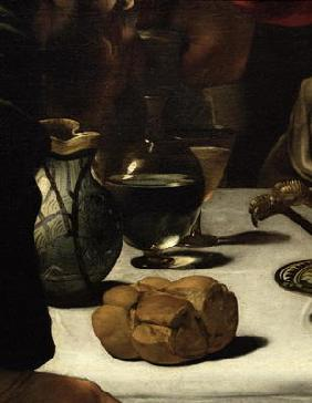 The Supper at Emmaus, 1601 (oil and tempera on canvas) (detail of 928)