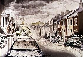 Sudden Downpour in NW5 District, 1998 (w/c on paper)