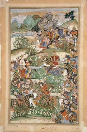 Emperor Akbar (r.1556-1605) at the battle of Samal in 1572, from the 'Akbarnama' made by Abu'l Fazi
