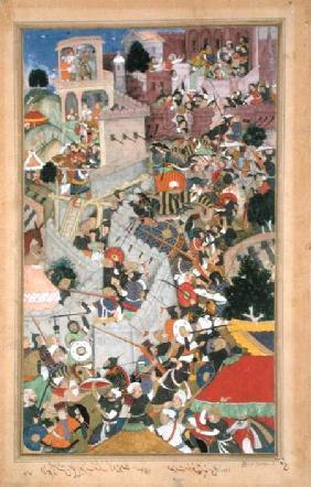 Emperor Akbar (r.1556-1605) shoots Saimal at the Siege of Chitov in 1567, from the 'Akbarnama' made