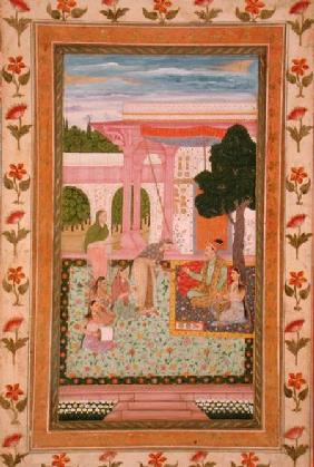 Emperor Jahangir (1569-1627) with his consort and attendants in a garden, from the Small Clive Album