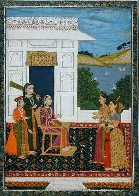 A lady with attendants on a terrace, from the Small Clive Album