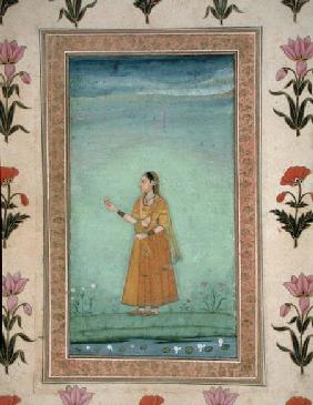 Lady holding fruit, standing by a lily pond, from the Small Clive Album