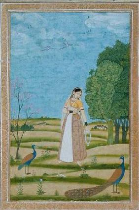 Lady with peacocks, from the Small Clive Album
