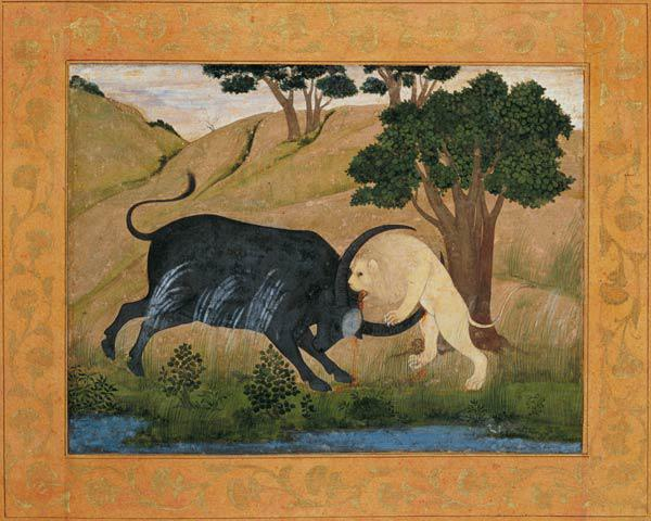 Lion in combat with a water buffalo, from the Large Clive Album