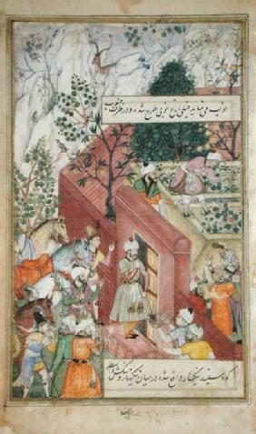The Mughal Emperor Babur (r.1526-30) about to oversea the laying out of a garden, using lines, from