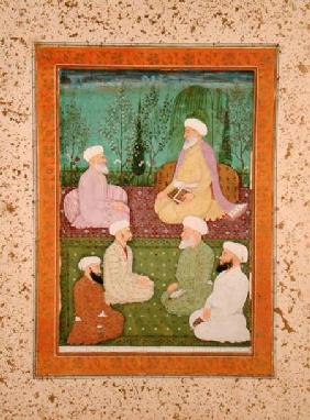 Six Muslim holy men seated on a garden terrace, from the Large Clive Album