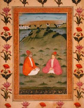 Two nobles seated in a landscape, from the Small Clive Album
