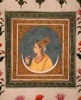 Portrait of a lady holding a lotus petal, from the Small Clive Album