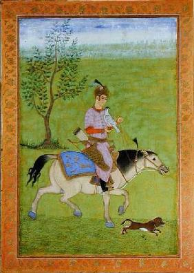 A prince hawking on horseback, from the Large Clive Album  on