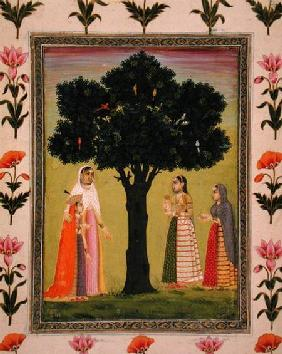 A princess with her son meets two ladies who offer gifts, from the Small Clive Album