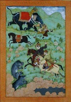 Rajput princes hunting bears; a mahout and his elephant rescue a fallen horseman from a tiger, from