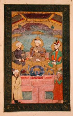 Timur (1336-1405), Babur (1483-1530, r.1526-30) and Humayan (1508-56, r.1530-56) enthroned together,