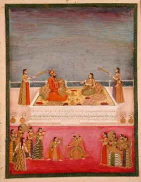 The young Mughal Emperor Muhammad Shah at a nautch performance (1719-48)