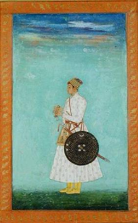 A young nobleman of the Mughal court holding a sealed brocade envelope,  from the Large Clive Album