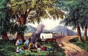 A Halt by the Wayside (print) 9:picnic; cauldron; sisters; pipe; covered wagon; settlers; American;