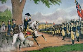 George Washington (1732-99) taking command of the American Army at Cambridge, Massachusetts, 3 July