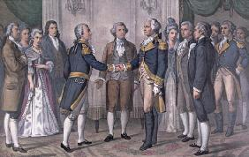The First Meeting of General George Washington (1732-99) and the Marquis de La Fayette (1757-1834) P