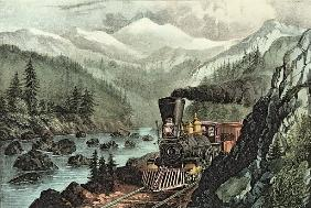 The Route to California. Truckee River, Sierra Nevada. Central Pacific railway