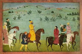 A Jasrota prince, possibly Balwant Singh, on a riding expedition
