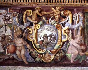 The 'Sala del Granduca di Toscana' (Hall of the Grand Duke of Tuscany) detail of the frieze depictin
