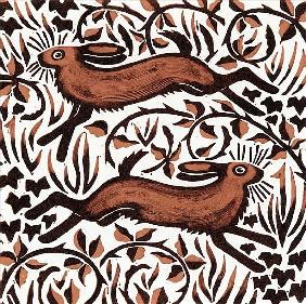 Bramble Hares, 2001 (woodcut)