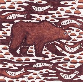 Fishing Bear, 2001 (woodcut)
